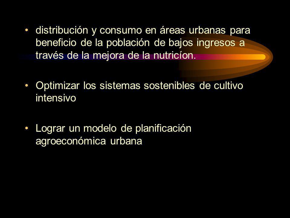 distribución y consumo en áreas urbanas para beneficio de la población de bajos ingresos a través de la mejora de la nutricíon.