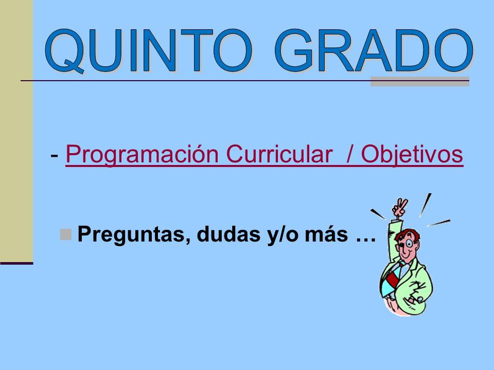 Preguntas, dudas y/o más … - Programación Curricular / ObjetivosProgramación Curricular / Objetivos