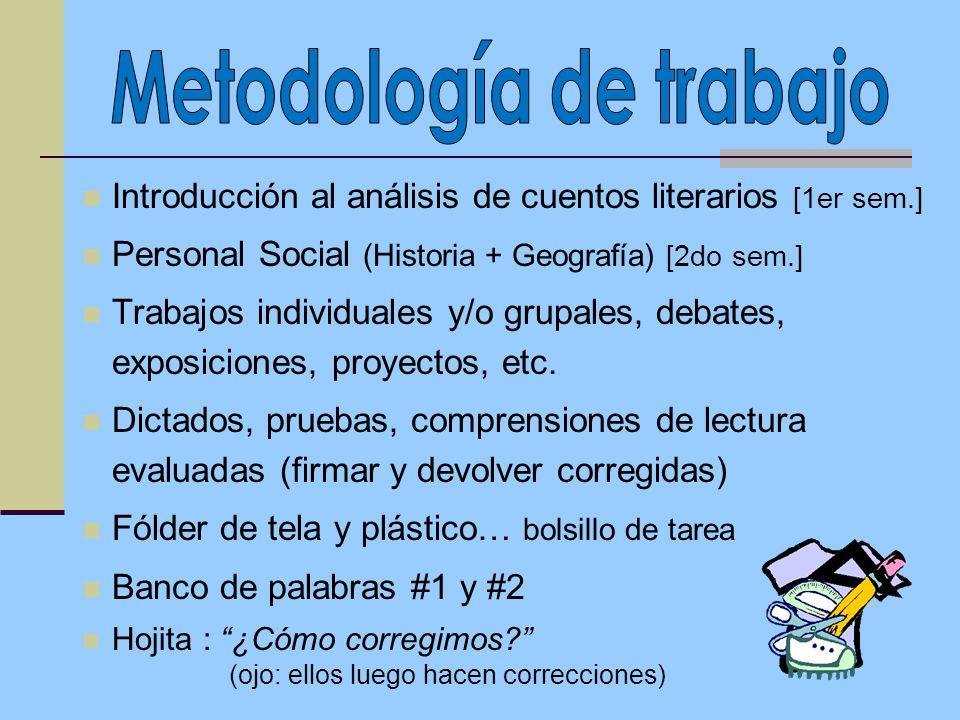 Introducción al análisis de cuentos literarios [1er sem.] Personal Social (Historia + Geografía) [2do sem.] Trabajos individuales y/o grupales, debates, exposiciones, proyectos, etc.