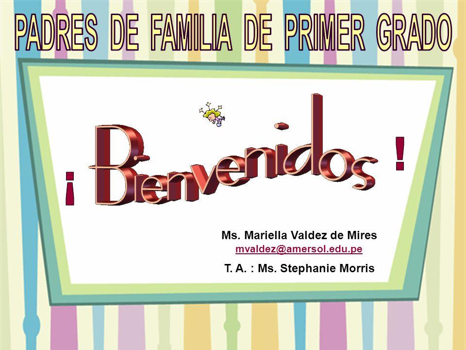 Ms. Mariella Valdez de Mires mvaldez@amersol.edu.pe mvaldez@amersol.edu.pe T. A. : Ms. Stephanie Morris