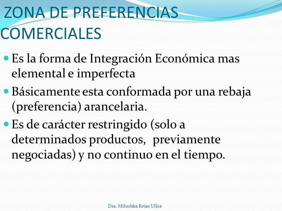 Dra. Milushka Rojas Ulloa ZONA DE PREFERENCIAS COMERCIALES Es la forma de Integración Económica mas elemental e imperfecta Básicamente esta conformada