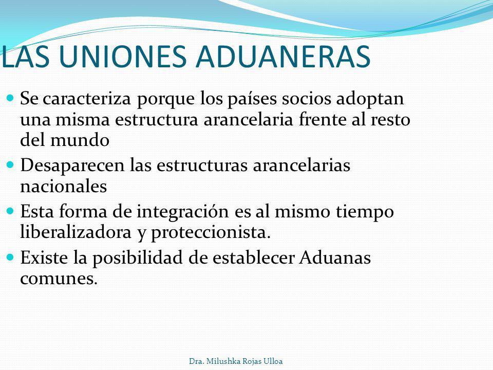 Dra. Milushka Rojas Ulloa LAS UNIONES ADUANERAS Se caracteriza porque los países socios adoptan una misma estructura arancelaria frente al resto del m