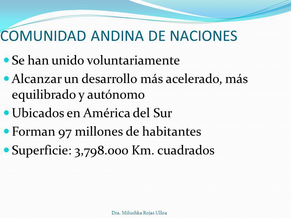 Dra. Milushka Rojas Ulloa Se han unido voluntariamente Alcanzar un desarrollo más acelerado, más equilibrado y autónomo Ubicados en América del Sur Fo