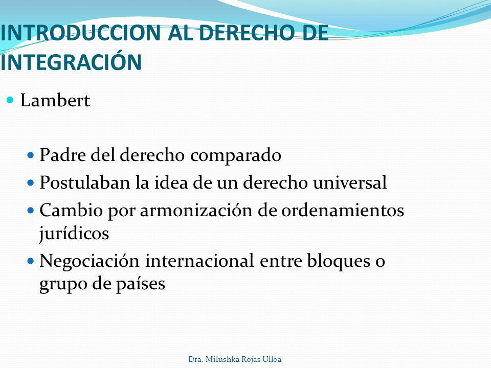 INTRODUCCION AL DERECHO DE INTEGRACIÓN Lambert Padre del derecho comparado Postulaban la idea de un derecho universal Cambio por armonización de orden