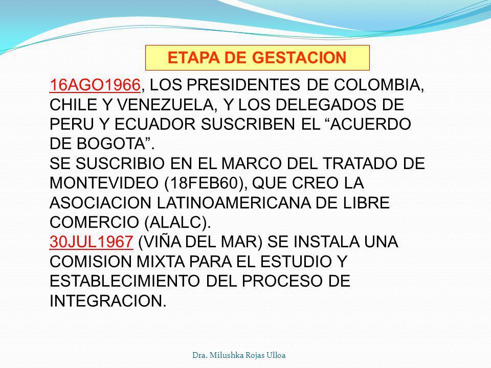 Dra. Milushka Rojas Ulloa ETAPA DE GESTACION 16AGO1966, LOS PRESIDENTES DE COLOMBIA, CHILE Y VENEZUELA, Y LOS DELEGADOS DE PERU Y ECUADOR SUSCRIBEN EL