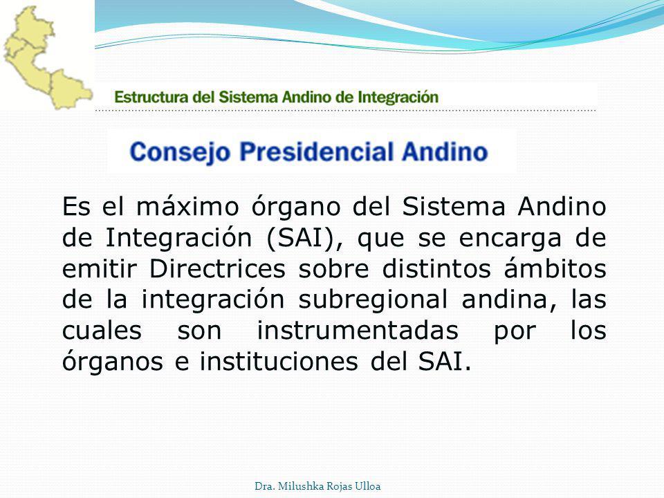 Es el máximo órgano del Sistema Andino de Integración (SAI), que se encarga de emitir Directrices sobre distintos ámbitos de la integración subregiona