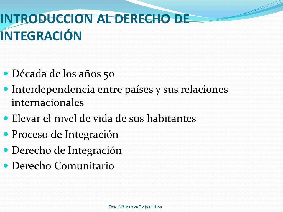 Dra. Milushka Rojas Ulloa INTRODUCCION AL DERECHO DE INTEGRACIÓN Década de los años 50 Interdependencia entre países y sus relaciones internacionales