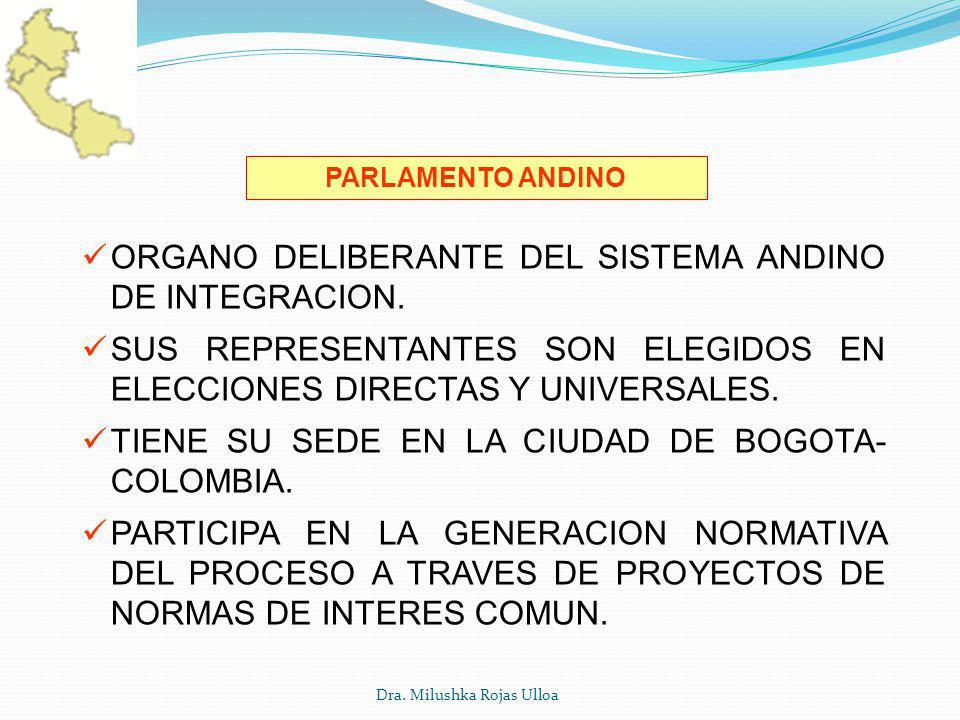 Dra. Milushka Rojas Ulloa PARLAMENTO ANDINO ORGANO DELIBERANTE DEL SISTEMA ANDINO DE INTEGRACION. SUS REPRESENTANTES SON ELEGIDOS EN ELECCIONES DIRECT