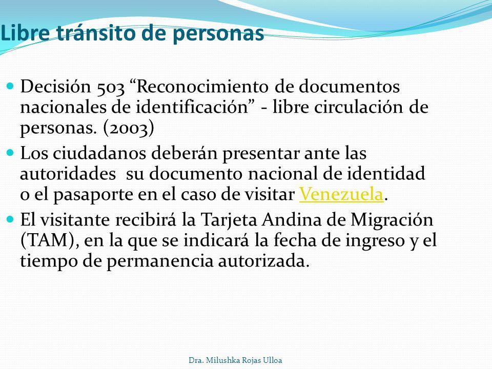 Dra. Milushka Rojas Ulloa Libre tránsito de personas Decisión 503 Reconocimiento de documentos nacionales de identificación - libre circulación de per
