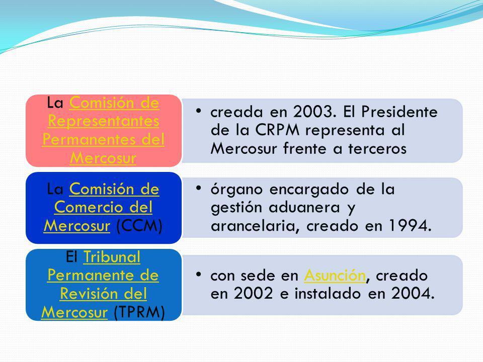 creada en 2003. El Presidente de la CRPM representa al Mercosur frente a terceros La Comisión de Representantes Permanentes del MercosurComisión de Re