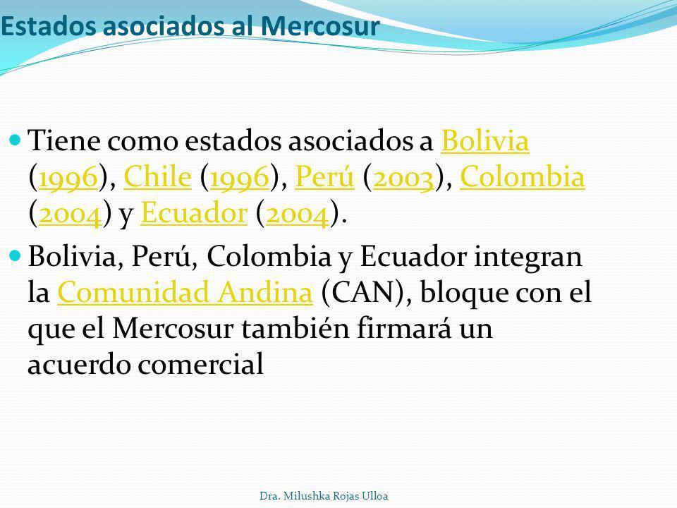 Dra. Milushka Rojas Ulloa Estados asociados al Mercosur Tiene como estados asociados a Bolivia (1996), Chile (1996), Perú (2003), Colombia (2004) y Ec