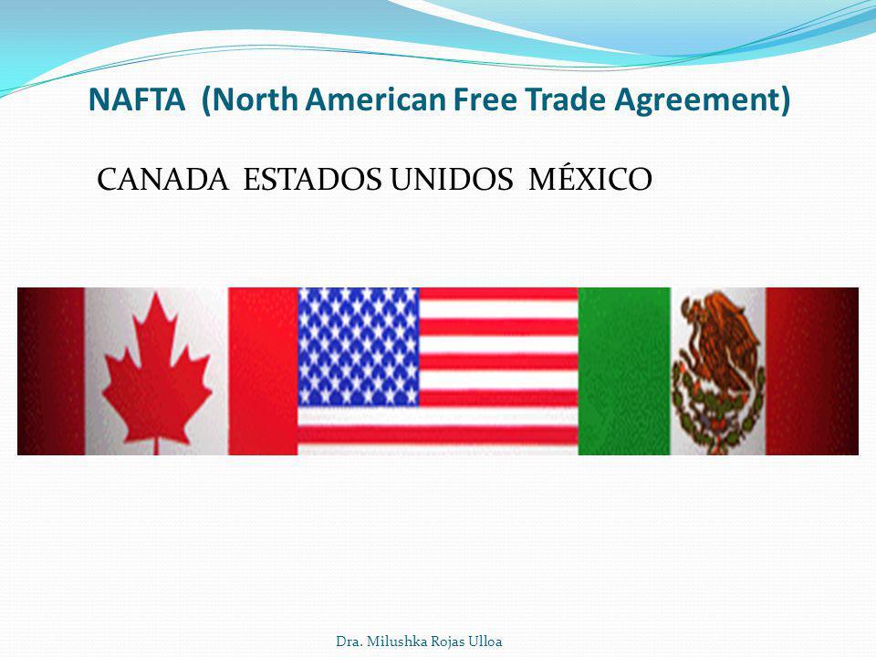 Dra. Milushka Rojas Ulloa NAFTA (North American Free Trade Agreement) CANADA ESTADOS UNIDOS MÉXICO