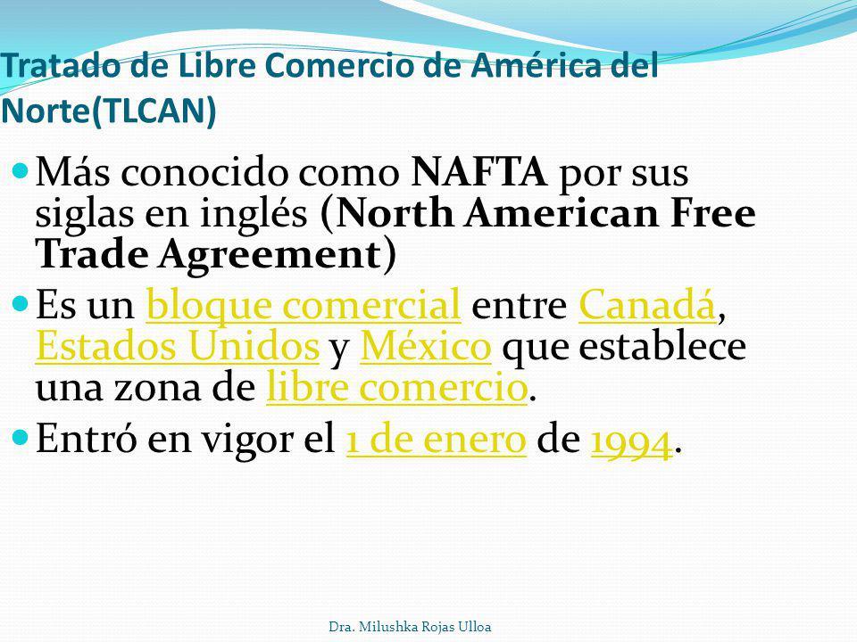 Dra. Milushka Rojas Ulloa Tratado de Libre Comercio de América del Norte(TLCAN) Más conocido como NAFTA por sus siglas en inglés (North American Free