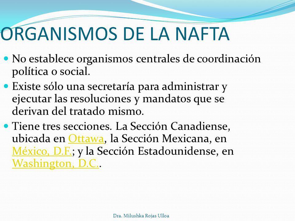 Dra. Milushka Rojas Ulloa ORGANISMOS DE LA NAFTA No establece organismos centrales de coordinación política o social. Existe sólo una secretaría para