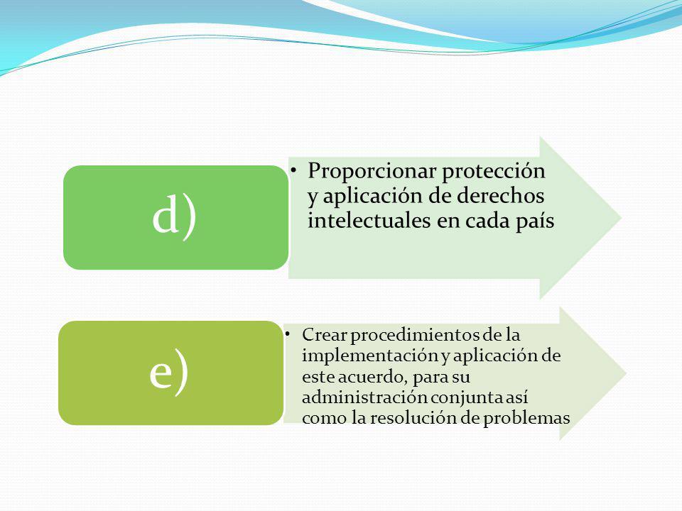 Proporcionar protección y aplicación de derechos intelectuales en cada país d) Crear procedimientos de la implementación y aplicación de este acuerdo,