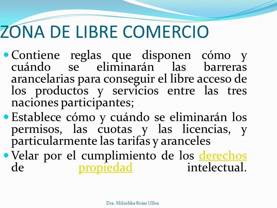 Dra. Milushka Rojas Ulloa ZONA DE LIBRE COMERCIO Contiene reglas que disponen cómo y cuándo se eliminarán las barreras arancelarias para conseguir el
