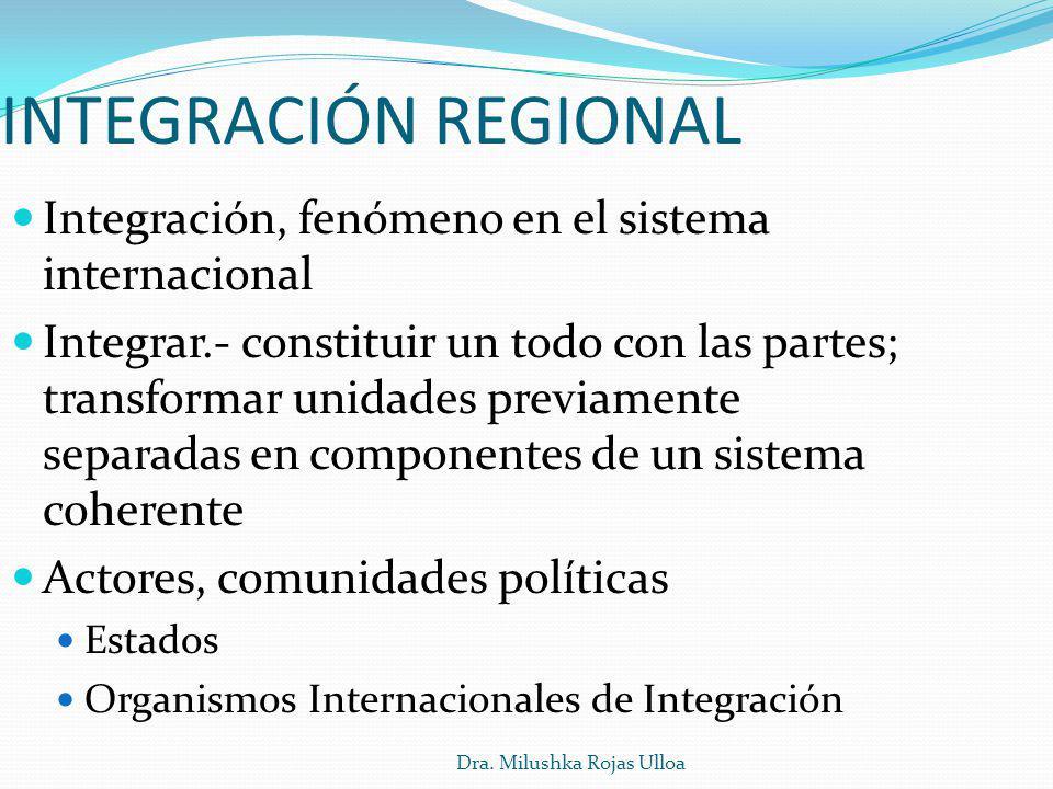 Dra. Milushka Rojas Ulloa Integración, fenómeno en el sistema internacional Integrar.- constituir un todo con las partes; transformar unidades previam