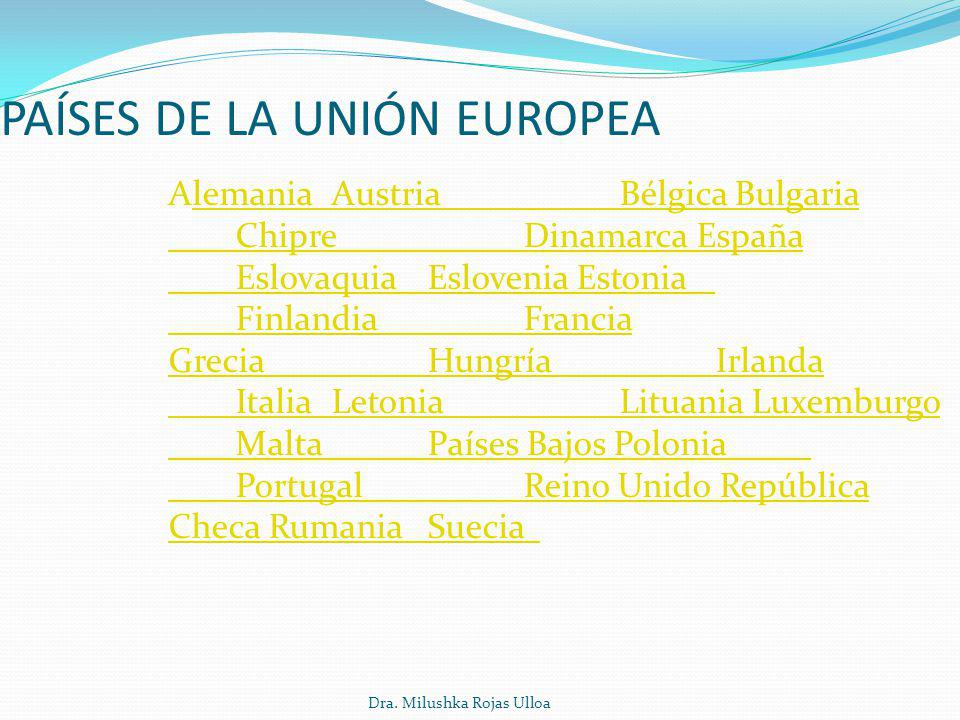Dra. Milushka Rojas Ulloa PAÍSES DE LA UNIÓN EUROPEA Alemania Austria Bélgica Bulgaria Chipre Dinamarca España Eslovaquia Eslovenia Estonia Finlandia