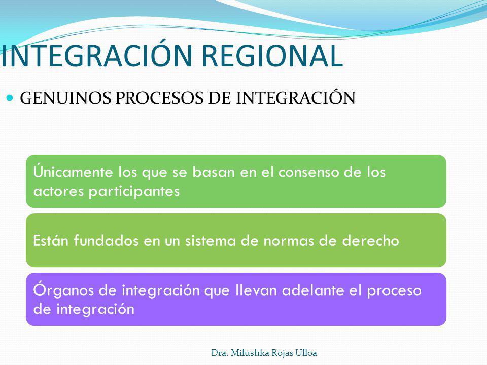 Dra. Milushka Rojas Ulloa GENUINOS PROCESOS DE INTEGRACIÓN INTEGRACIÓN REGIONAL Únicamente los que se basan en el consenso de los actores participante