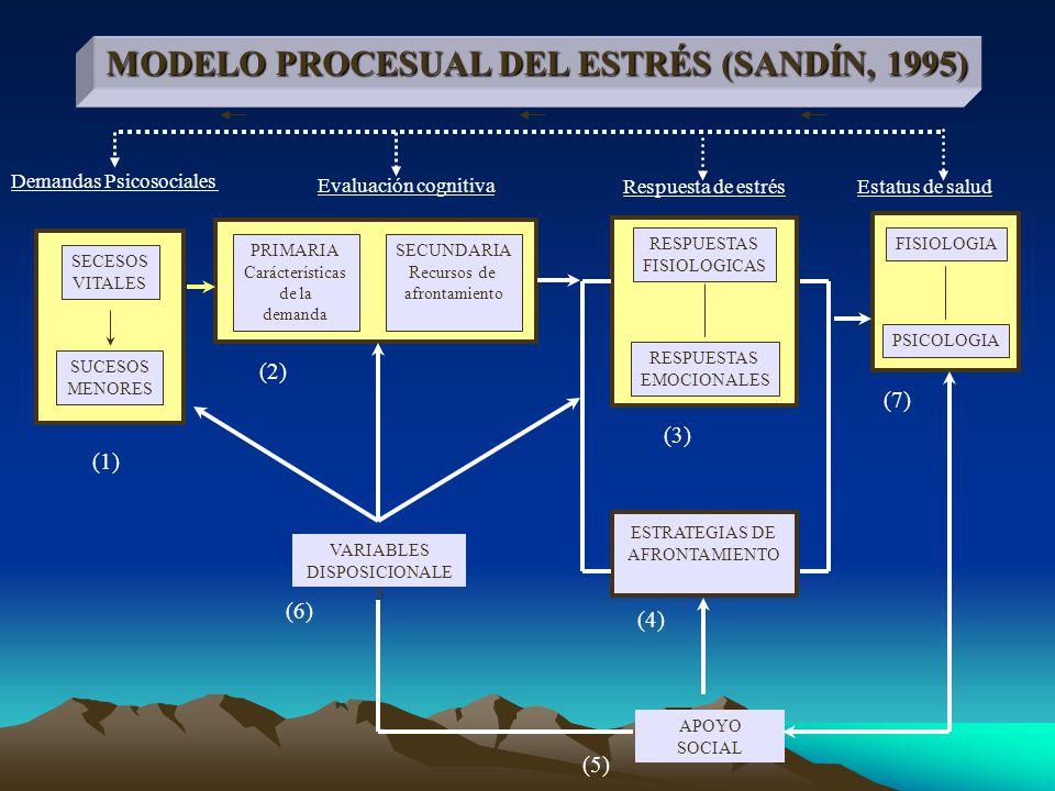 ESTRATEGIAS DE AFRONTAMIENTO PRIMARIA Carácterísticas de la demanda SECUNDARIA Recursos de afrontamiento SECESOS VITALES SUCESOS MENORES VARIABLES DISPOSICIONALE S APOYO SOCIAL RESPUESTAS FISIOLOGICAS RESPUESTAS EMOCIONALES FISIOLOGIA PSICOLOGIA MODELO PROCESUAL DEL ESTRÉS (SANDÍN, 1995) (1) (2) (3) (4) (5) (6) (7) Evaluación cognitiva Respuesta de estrésEstatus de salud Demandas Psicosociales