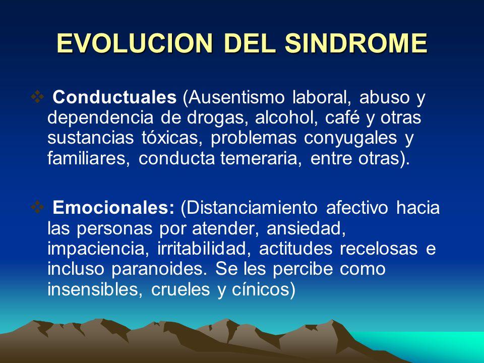 EVOLUCION DEL SINDROME 3 Etapa: Síndrome de Desgaste Profesional.- Agotamiento emocional, despersonalización y falta de realización. Otros síntomas: P