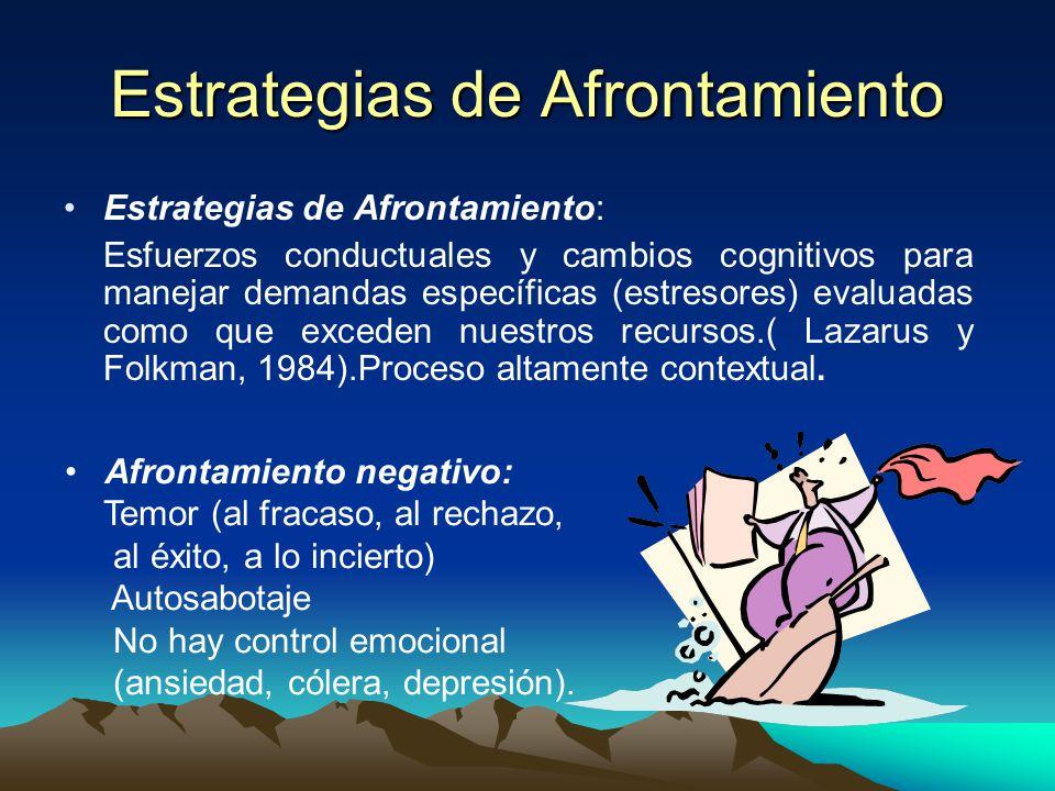 Recursos de Afrontamiento En el modelo procesual del Estrés, se resaltan los recursos de afrontamiento que vienen a ser el potencial con que cuenta la