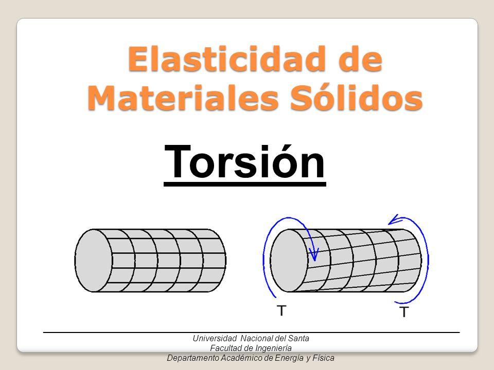 ______________________________________________________________________________ Universidad Nacional del Santa Facultad de Ingeniería Departamento Académico de Energía y Física Contenido Asignatura – Física II Sección 1 - Deformaciones en un árbol circular Sección 2 - Esfuerzos cortantes en barras circulares debido a torsión Sección 3 - Ejes estáticamente indeterminadosSección 3 - Ejes estáticamente indeterminados Sección 4 – Relación entre torsor, potencia y velocidad angularSección 4 – Relación entre torsor, potencia y velocidad angular Sección 5 - Ecuaciones empleadas en barras no circularesSección 5 - Ecuaciones empleadas en barras no circulares Sección 6 - Resumen de ecuacionesSección 6 - Resumen de ecuaciones