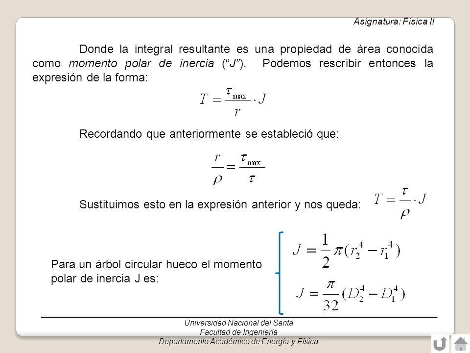 Donde la integral resultante es una propiedad de área conocida como momento polar de inercia (J). Podemos rescribir entonces la expresión de la forma: