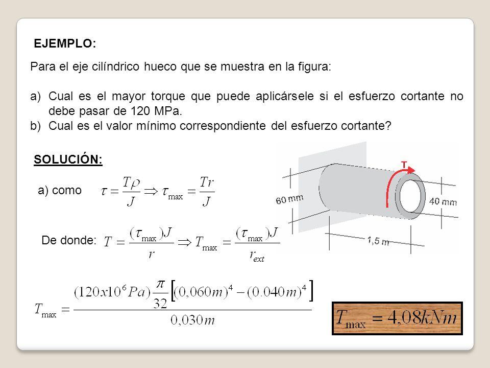 EJEMPLO: Para el eje cilíndrico hueco que se muestra en la figura: a)Cual es el mayor torque que puede aplicársele si el esfuerzo cortante no debe pas