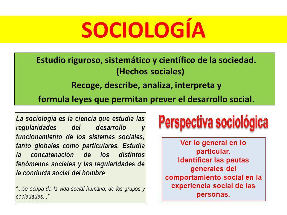 Estudio riguroso, sistemático y científico de la sociedad. (Hechos sociales) Recoge, describe, analiza, interpreta y formula leyes que permitan prever