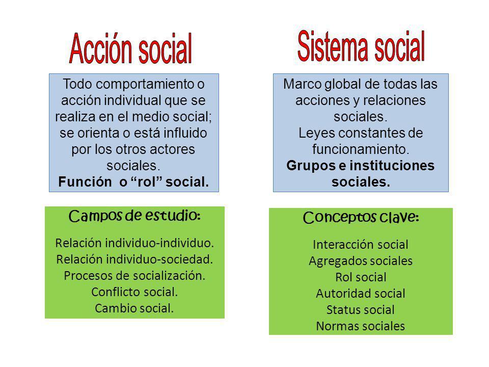 Todo comportamiento o acción individual que se realiza en el medio social; se orienta o está influido por los otros actores sociales. Función o rol so