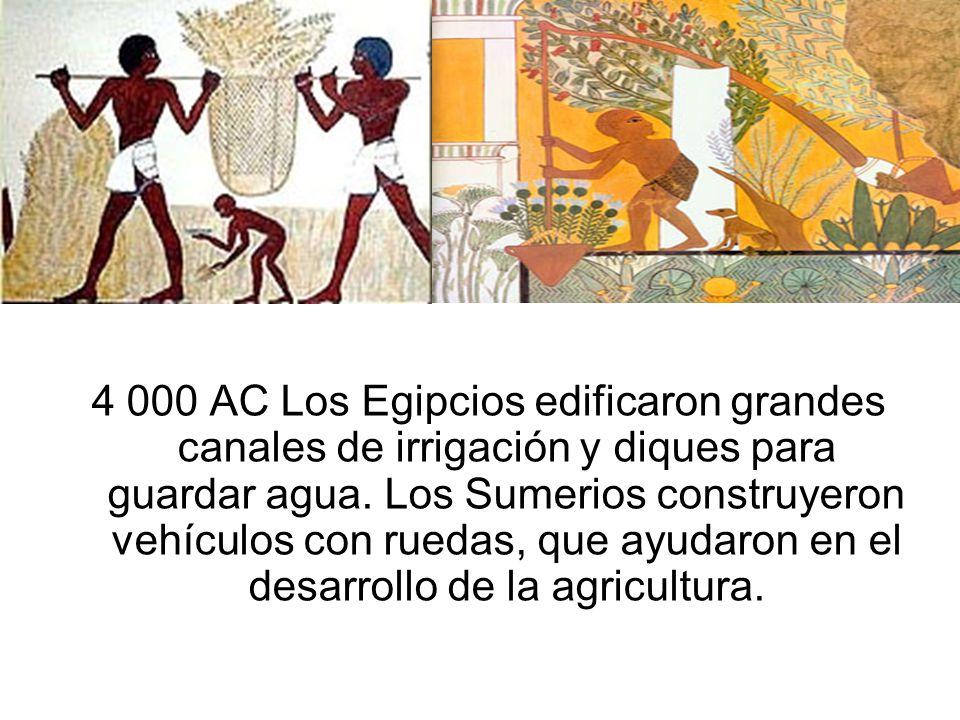 4 000 AC Los Egipcios edificaron grandes canales de irrigación y diques para guardar agua.