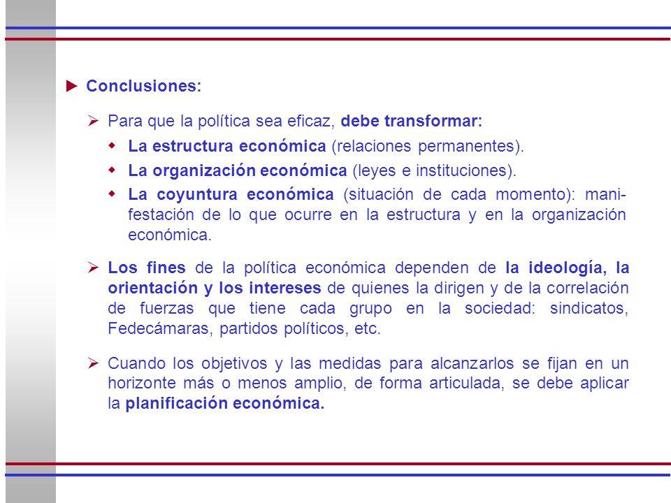 La estructura económica (relaciones permanentes). La organización económica (leyes e instituciones). La coyuntura económica (situación de cada momento