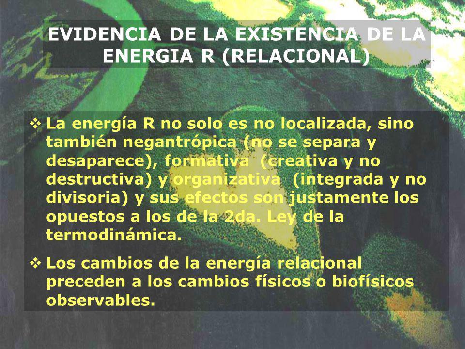 La energía R no solo es no localizada, sino también negantrópica (no se separa y desaparece), formativa (creativa y no destructiva) y organizativa (in