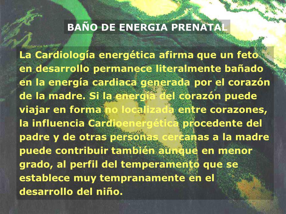 BAÑO DE ENERGIA PRENATAL La Cardiología energética afirma que un feto en desarrollo permanece literalmente bañado en la energía cardiaca generada por