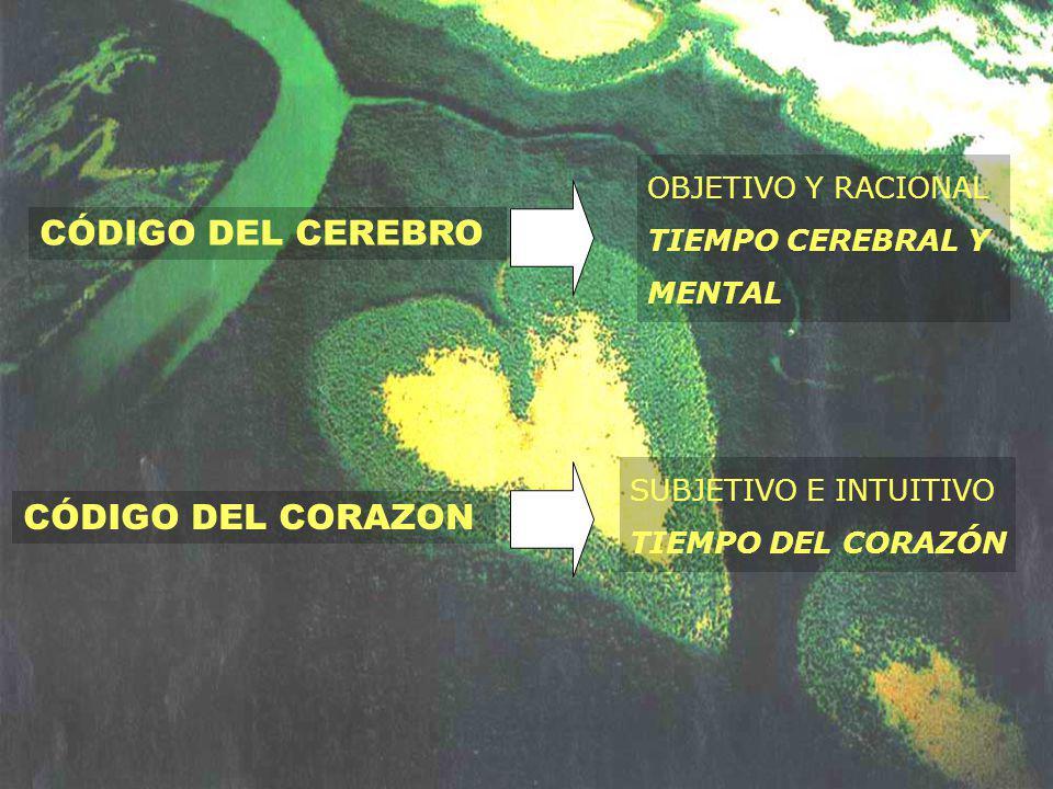 CÓDIGO DEL CEREBRO CÓDIGO DEL CORAZON OBJETIVO Y RACIONAL TIEMPO CEREBRAL Y MENTAL SUBJETIVO E INTUITIVO TIEMPO DEL CORAZÓN