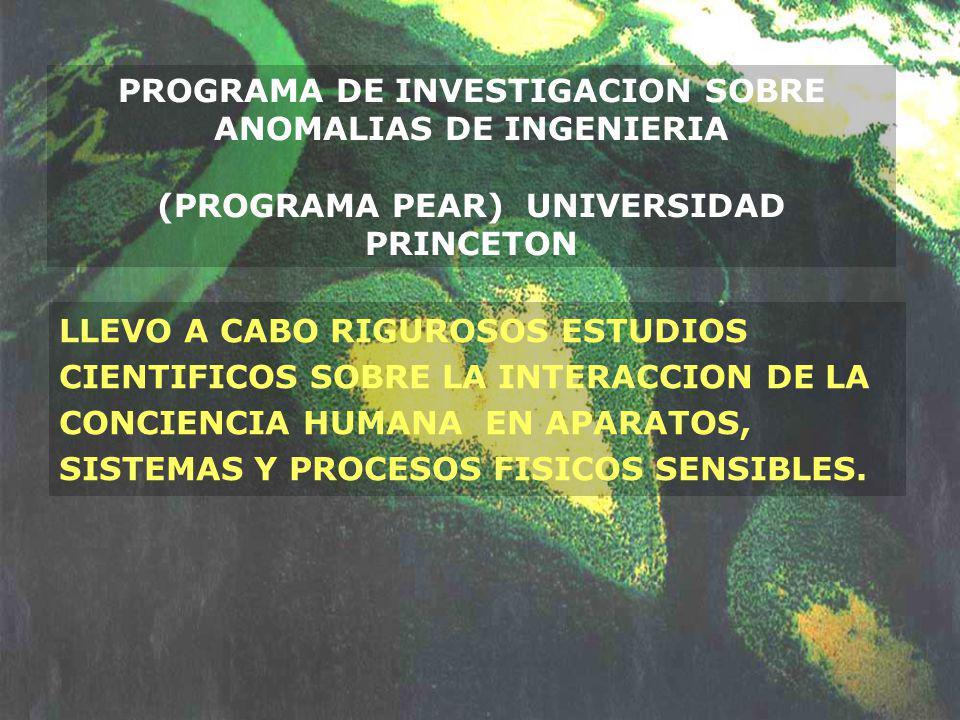 PROGRAMA DE INVESTIGACION SOBRE ANOMALIAS DE INGENIERIA (PROGRAMA PEAR) UNIVERSIDAD PRINCETON LLEVO A CABO RIGUROSOS ESTUDIOS CIENTIFICOS SOBRE LA INT