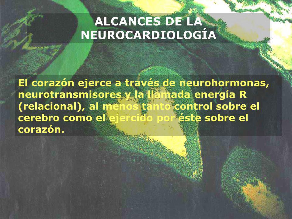 ALCANCES DE LA NEUROCARDIOLOGÍA El corazón ejerce a través de neurohormonas, neurotransmisores y la llamada energía R (relacional), al menos tanto con