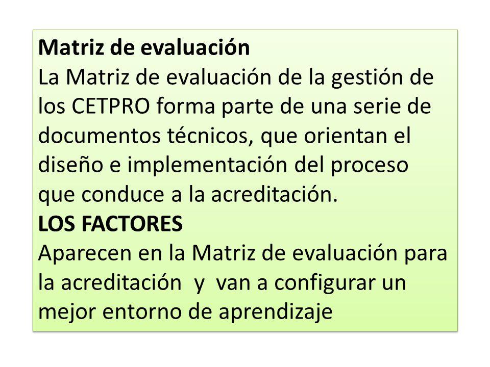 Matriz de evaluación La Matriz de evaluación de la gestión de los CETPRO forma parte de una serie de documentos técnicos, que orientan el diseño e imp