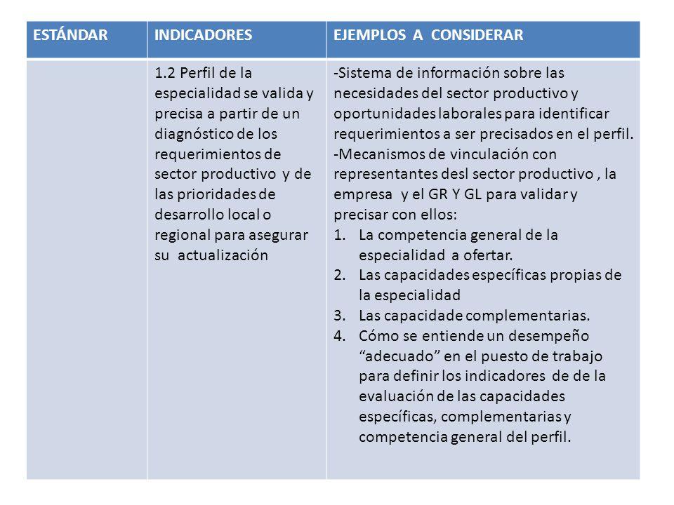ESTÁNDARINDICADORESEJEMPLOS A CONSIDERAR 1.2 Perfil de la especialidad se valida y precisa a partir de un diagnóstico de los requerimientos de sector