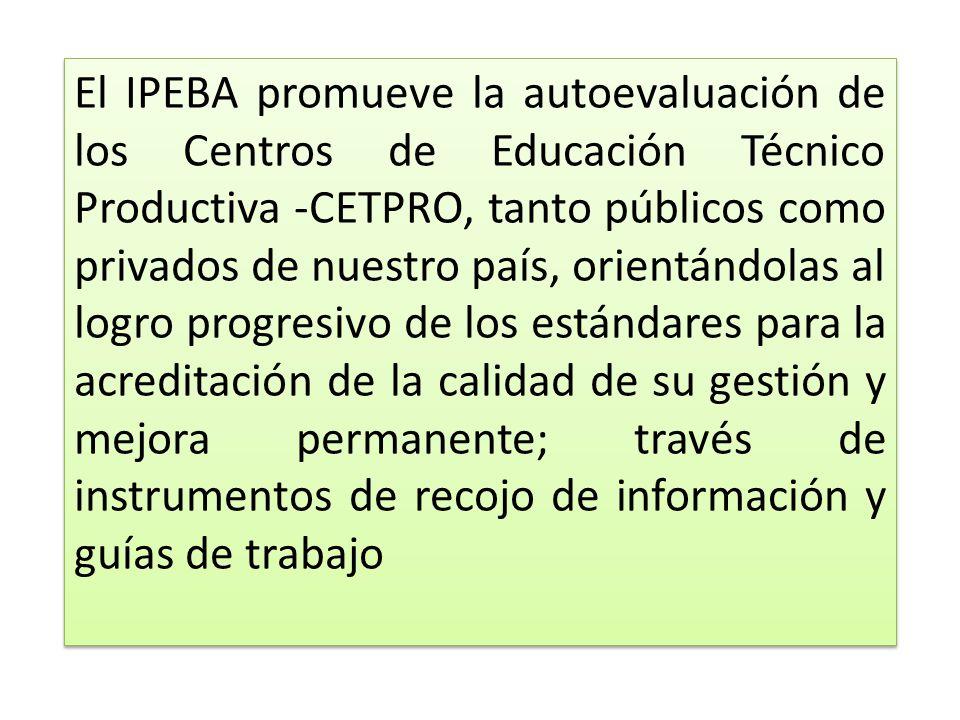 El IPEBA promueve la autoevaluación de los Centros de Educación Técnico Productiva -CETPRO, tanto públicos como privados de nuestro país, orientándola