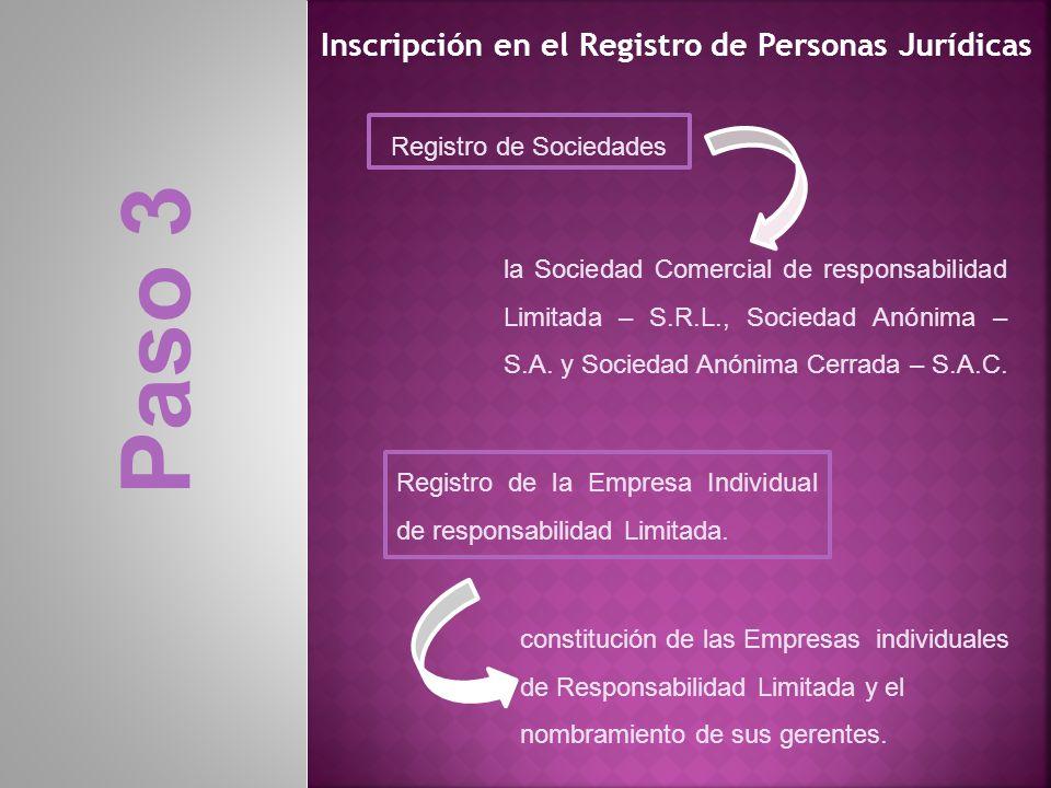 Inscripción en el Registro de Personas Jurídicas Registro de la Empresa Individual de responsabilidad Limitada. Registro de Sociedades constitución de