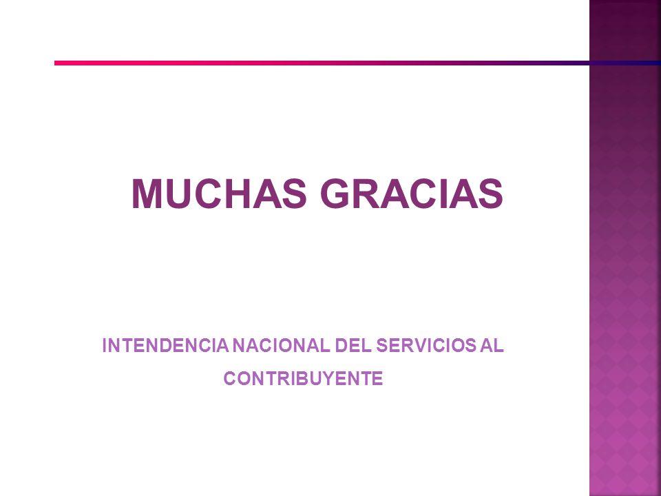 MUCHAS GRACIAS INTENDENCIA NACIONAL DEL SERVICIOS AL CONTRIBUYENTE