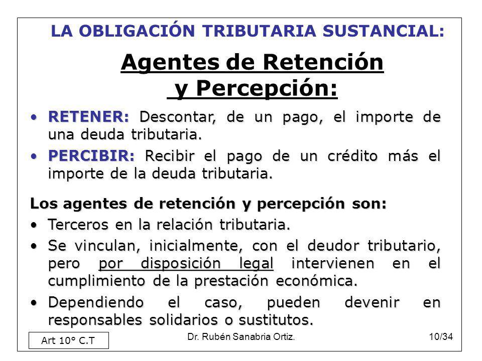Dr. Rubén Sanabria Ortiz.10/34 Agentes de Retención y Percepción: RETENER: Descontar, de un pago, el importe de una deuda tributaria.RETENER: Desconta