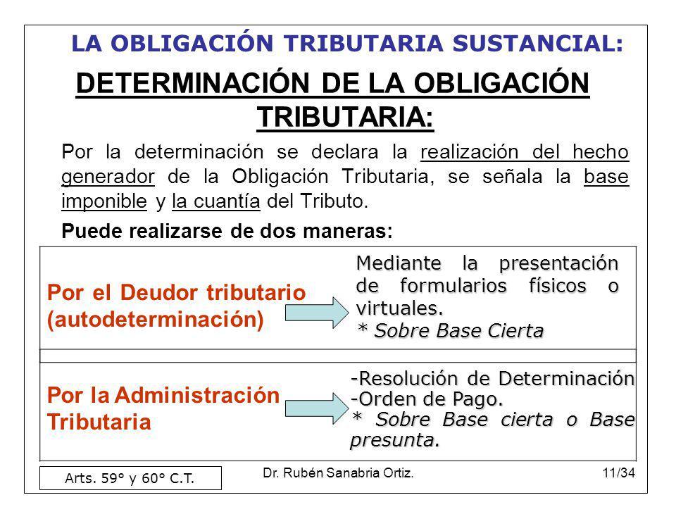 Dr. Rubén Sanabria Ortiz.11/34 DETERMINACIÓN DE LA OBLIGACIÓN TRIBUTARIA: Por la determinación se declara la realización del hecho generador de la Obl