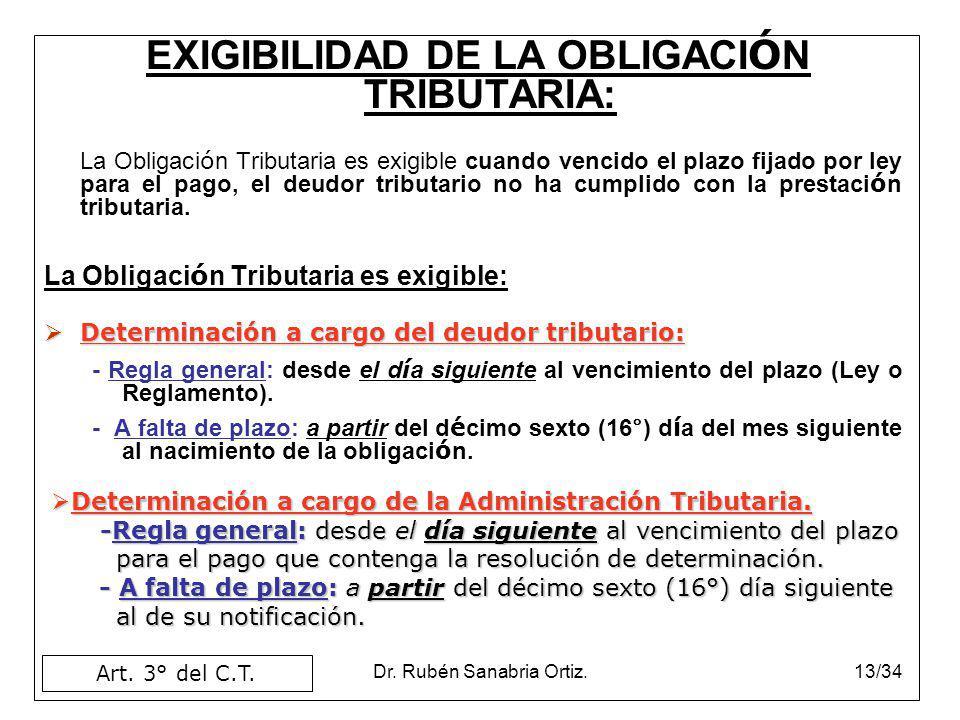 Dr. Rubén Sanabria Ortiz.13/34 EXIGIBILIDAD DE LA OBLIGACI Ó N TRIBUTARIA: La Obligaci ó n Tributaria es exigible cuando vencido el plazo fijado por l