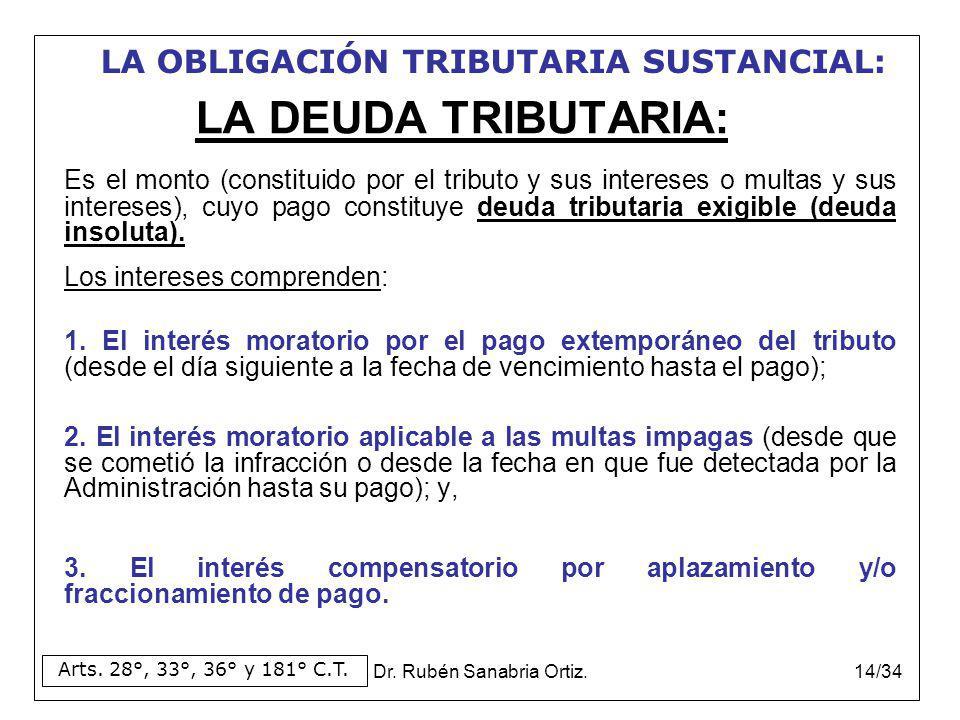 Dr. Rubén Sanabria Ortiz.14/34 LA DEUDA TRIBUTARIA: Es el monto (constituido por el tributo y sus intereses o multas y sus intereses), cuyo pago const