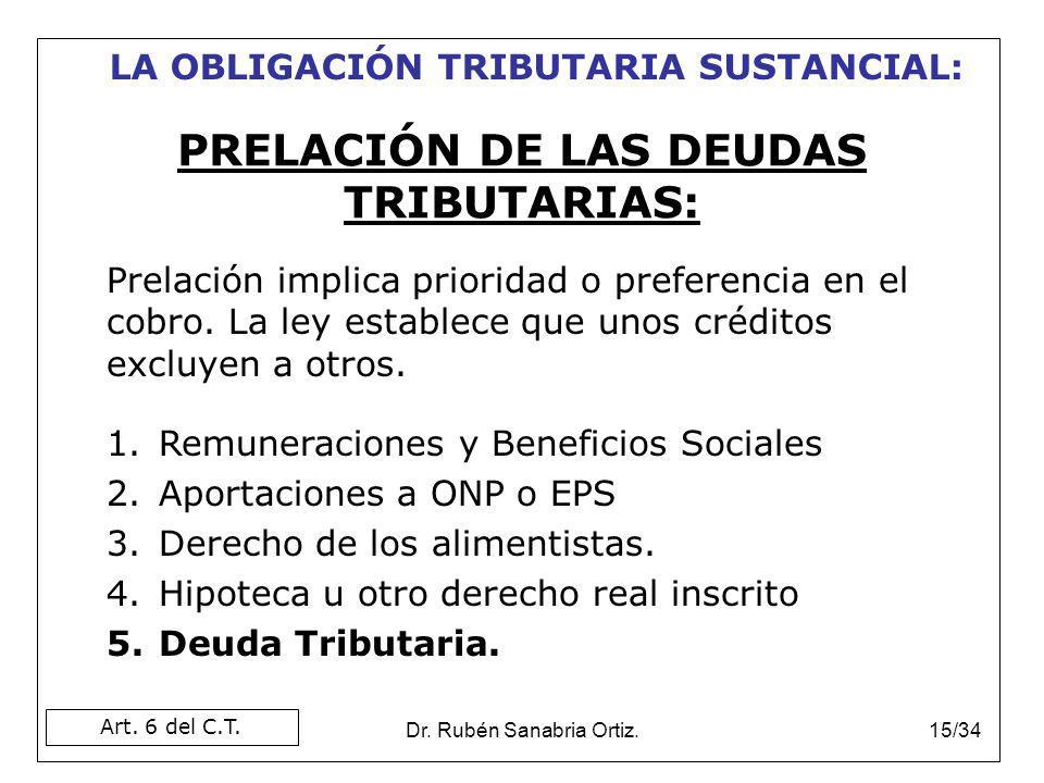 Dr. Rubén Sanabria Ortiz.15/34 Prelación implica prioridad o preferencia en el cobro. La ley establece que unos créditos excluyen a otros. 1.Remunerac