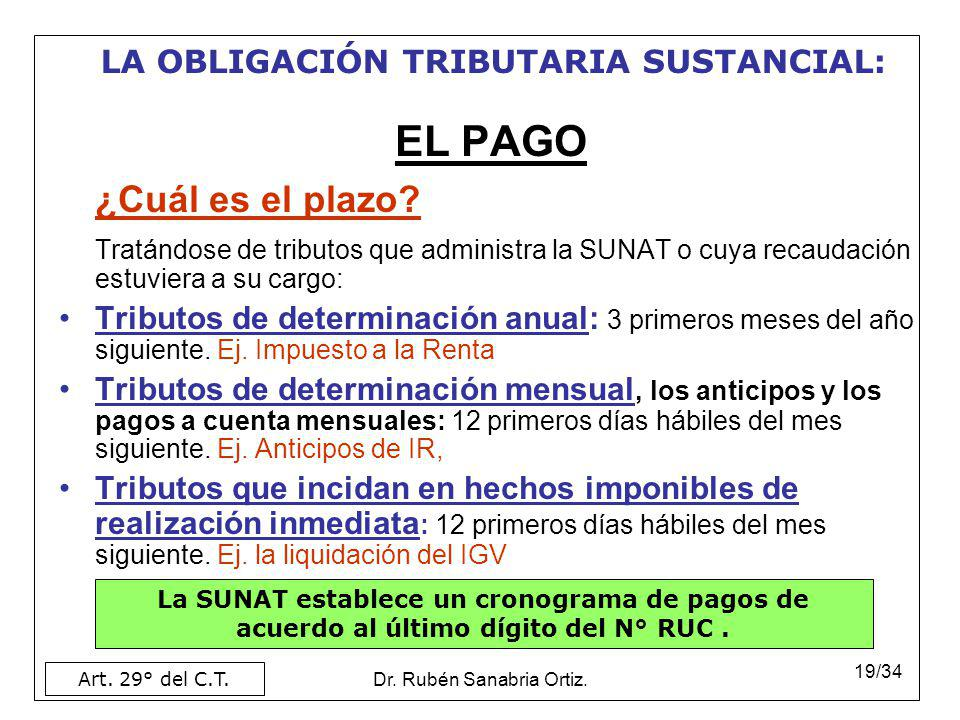 Dr. Rubén Sanabria Ortiz. 19/34 EL PAGO ¿Cuál es el plazo? Tratándose de tributos que administra la SUNAT o cuya recaudación estuviera a su cargo: Tri