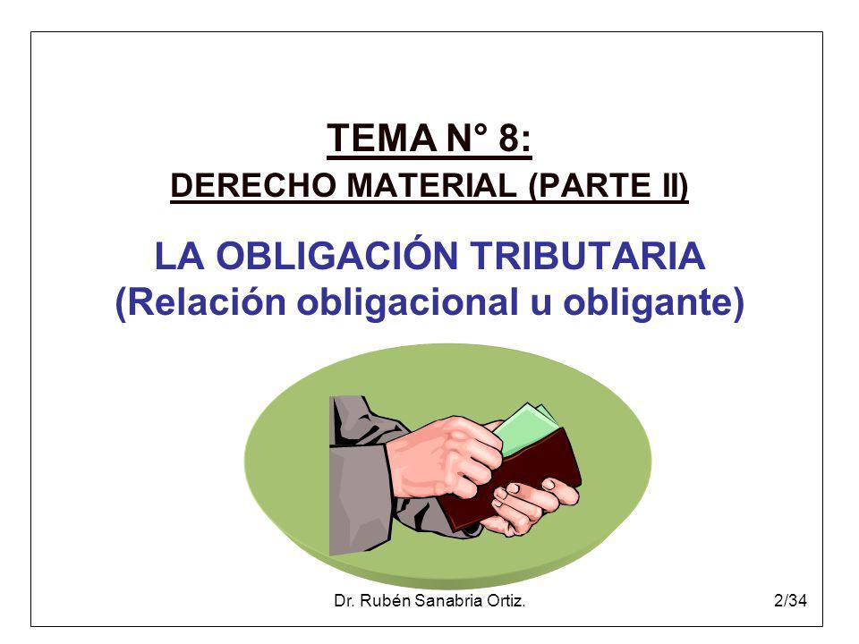 Dr. Rubén Sanabria Ortiz.2/34 TEMA N° 8: DERECHO MATERIAL (PARTE II) LA OBLIGACIÓN TRIBUTARIA (Relación obligacional u obligante)
